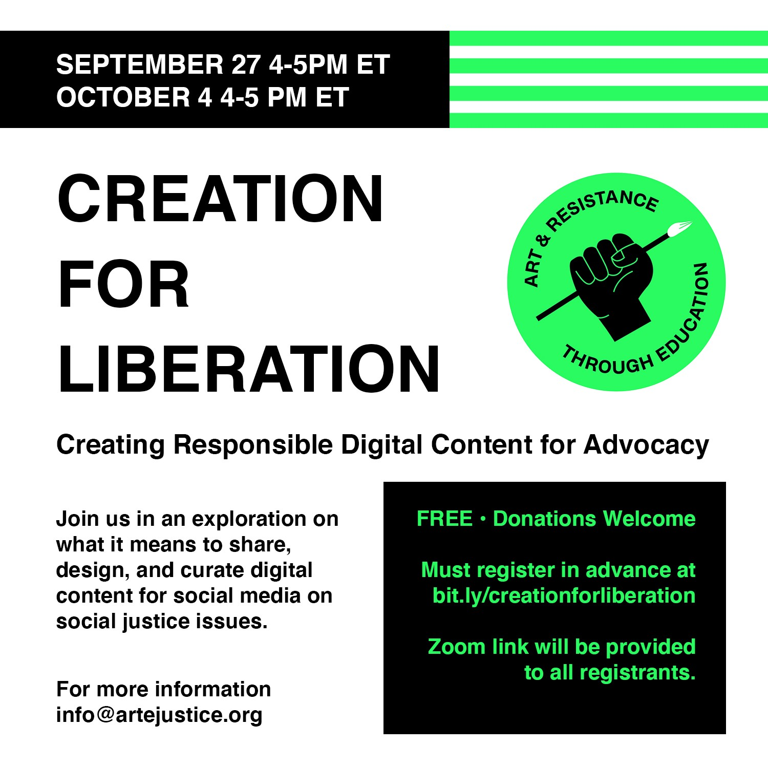 Creation for Liberation Flyer