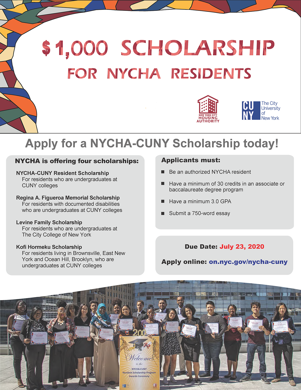$1000 Scholarship For NYCHA Residents