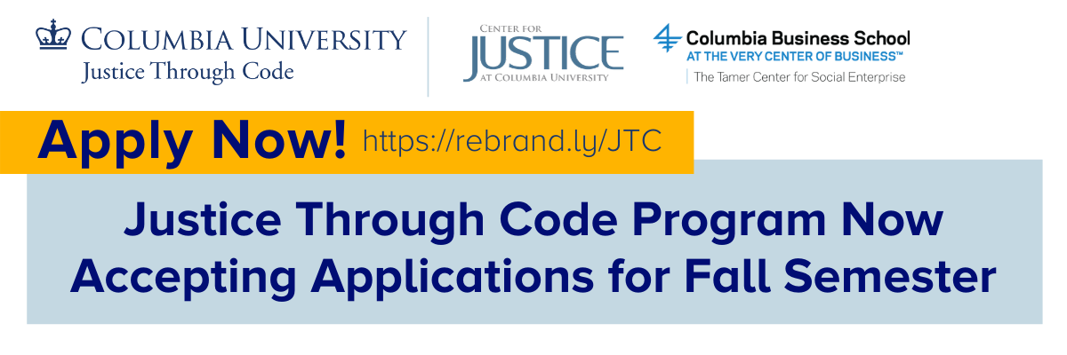 Justice Through Code Program Now Accepting Applications for Fall Semester