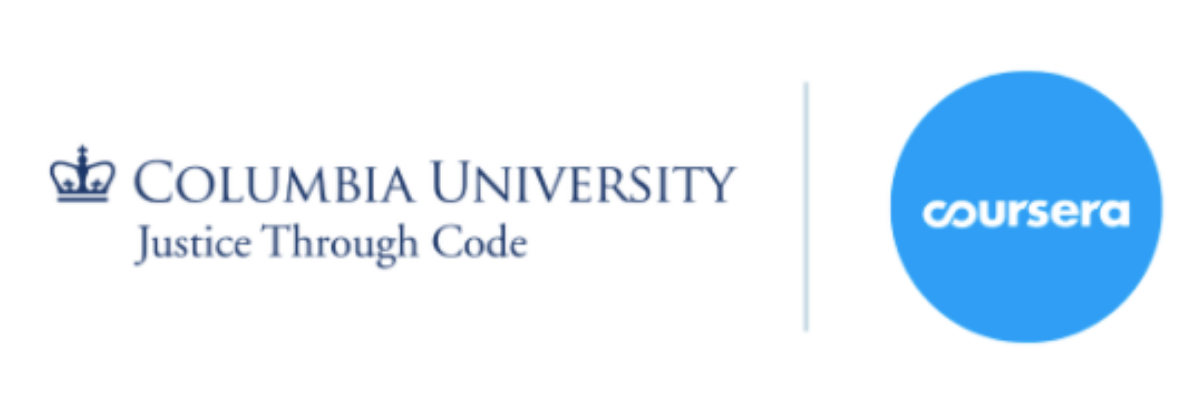 Justice Through Code and Coursera Logos